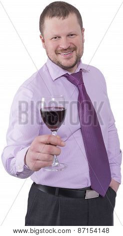 Businessman holding glass of wine on white background