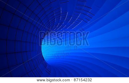 Abstract 3d rendering of futuristic blue tunnel.