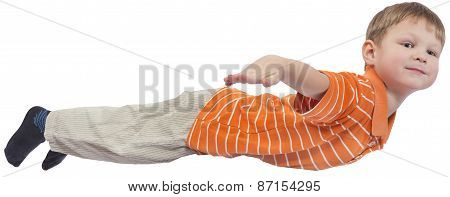 Young boy flying on white background