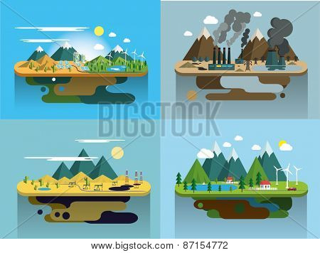 Ecology Concept Vector Icons Set for Environment, Green Energy and Nature Pollution Designs. Flat Style. Renewable Energy, Natural Farm Products, Fresh Air and Drinking Water.