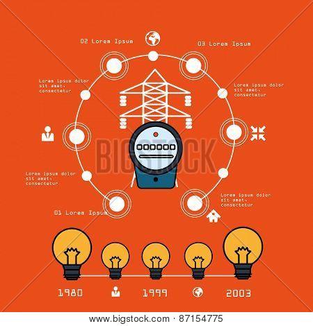 Energy  counter infographic modern design template. Vector illustration template design