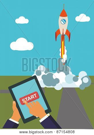 Flat rocket icon. Start up concept. Project development. Vector flat illustration.