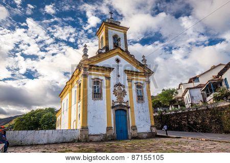 view of a church of ouro preto in minas gerais brazil