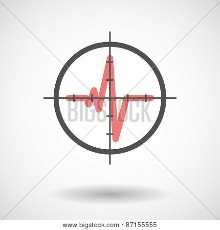 Crosshair Icon With A Heart Beat Sign