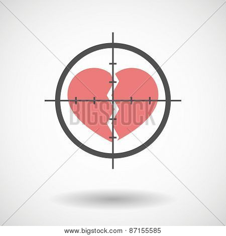 Crosshair Icon With A Broken Heart