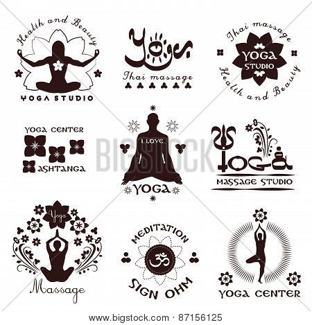 Set of yoga studio labels, logos and design elements