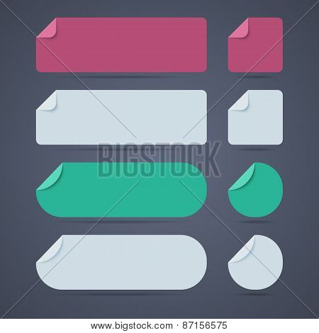 Set of rectangle and round blank paper stickers