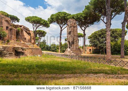 The Ancient Ruin In Rome Near Colosseum