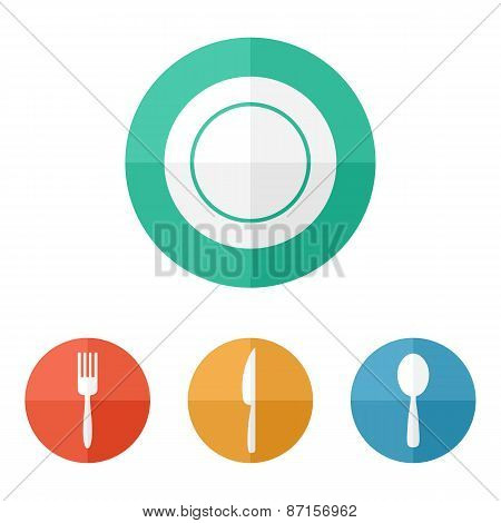 Flat Restaurant Menu Icons. Plate, Spoon, Fork, Knife Isolated