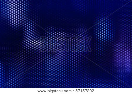 Black Steel Mesh And Blue Lighting Abstract Background