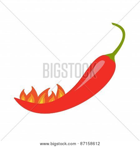Hot Red Chili Jalapeno Pepper With Fire Isolated Icon White Background Flat Design