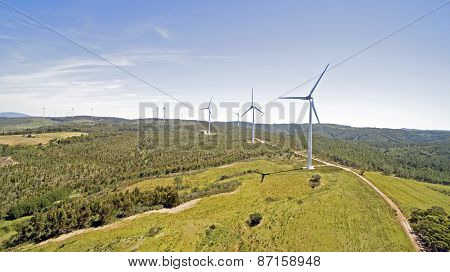 Aerial from windmills in the countryside