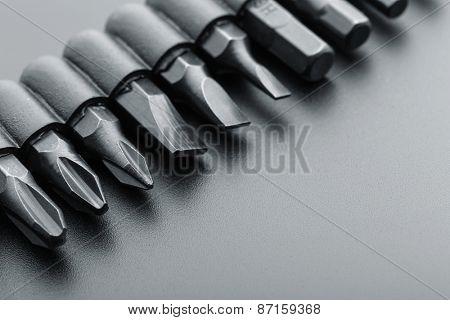 Macro of screwdriver bits