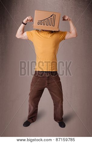 Young man standing and gesturing with a cardboard box on his head with diagram
