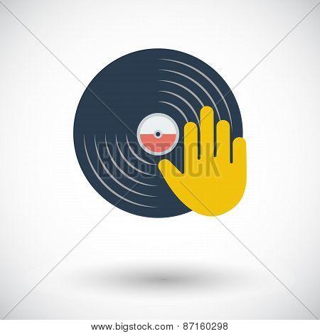 Vinyl disc whit hand.
