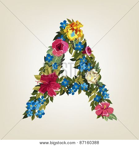 A  letter. Flower capital alphabet. Colorful font. Uppercase.  Vector illustration.