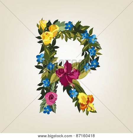 R letter. Flower capital alphabet. Colorful font. Uppercase.  Vector illustration.