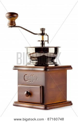 Old Wooden Coffee Grinder With Handle