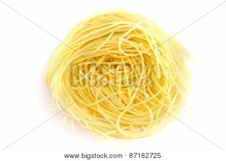 Heap Of Dry Vermicelli, Ingredient Italian Food Isolated On White