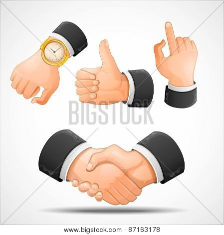 Handshake and hand gestures illustration