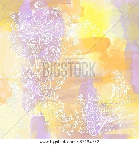 Floral Card With Abstract Watercolor Background