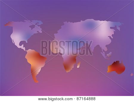 Futuristic World Map Illustration With Glow Effect