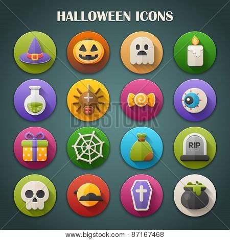 Round Bright Icons with Long Shadow: Halloween