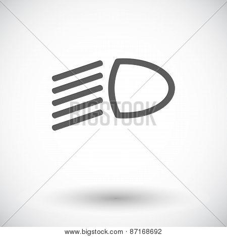 Headlight flat icon.
