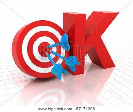 Okay symbol with target, 3d render