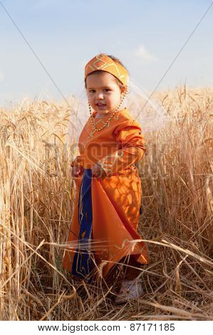 Little Girl In A National Armenian Dress To Stand In The Field Of The Ripened Wheat
