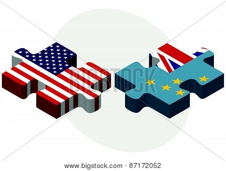 Usa And Tuvalu Flags In Puzzle
