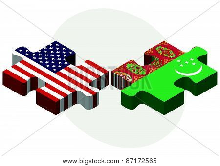 Usa And Turkmenistan Flags In Puzzle
