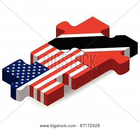Usa And Trinidad And Tobago Flags In Puzzle