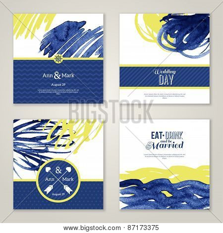 Set of watercolor romantic wedding invitations.