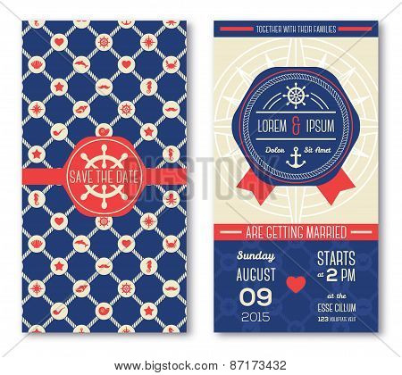 Set of romantic wedding invitations in marine style.