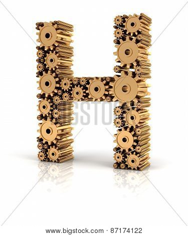 Alphabet H formed by gears