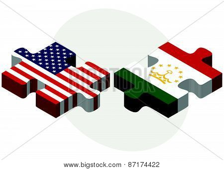 Usa And Tajikistan Flags In Puzzle