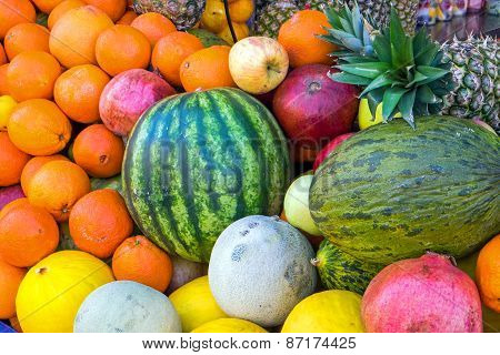 Pile of tropical fruits
