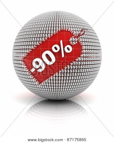 90 percent off sale tag on a sphere