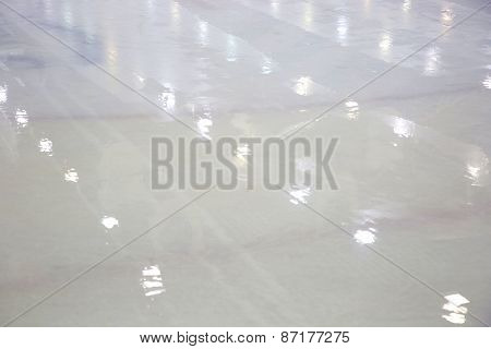 Ice Surface In Ice-hockey Hall After Filling