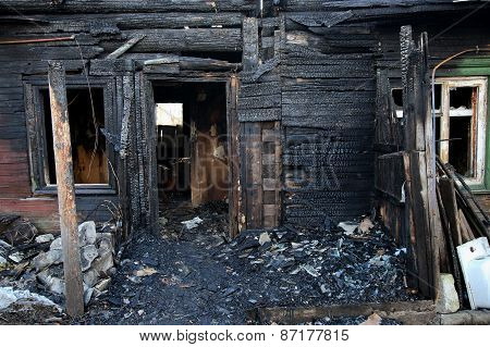Conflagration. Burnt  House
