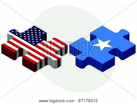 Usa And Somali Flags In Puzzle