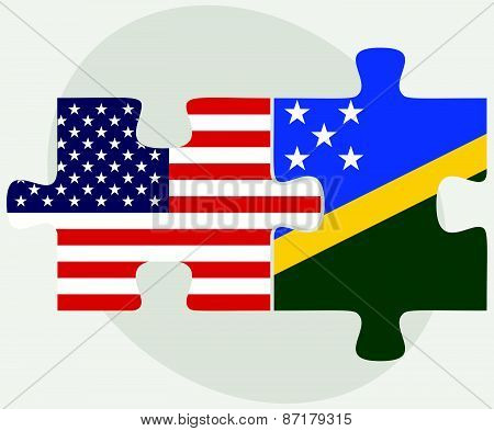 Usa And Solomon Islands Flags In Puzzle