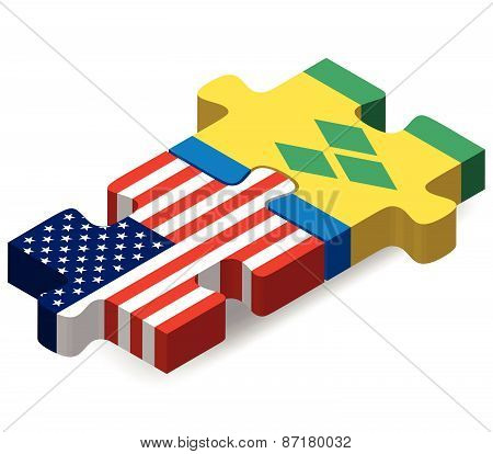 Usa And Saint Vincent And The Grenadines Flags In Puzzle