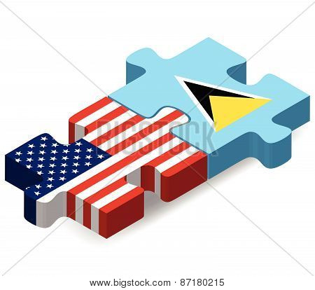 Usa And Saint Lucia Flags In Puzzle