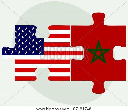 Usa And Morocco Flags In Puzzle
