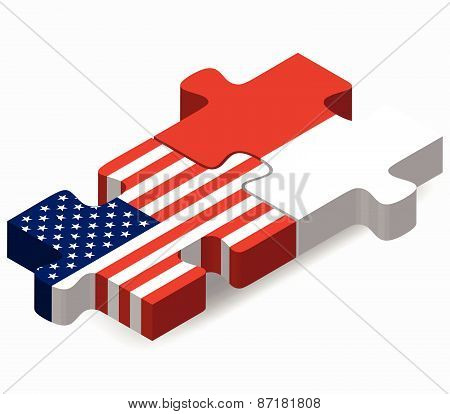 Usa And Monaco Flags In Puzzle