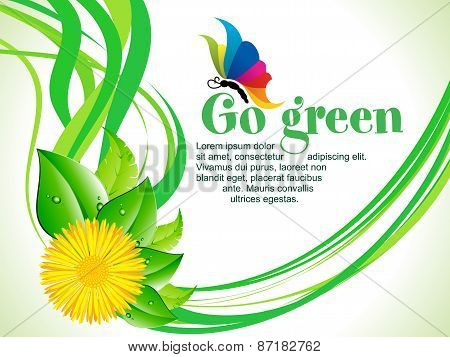 Abstract Artistic Go Green Wave Background
