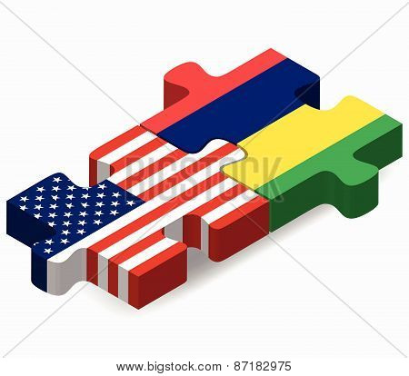 Usa And Mauritius Flags In Puzzle