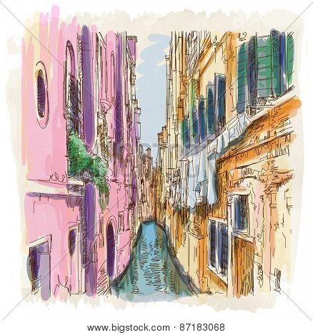 Venice - Calle Frutarol. Vector illustration. Eps10